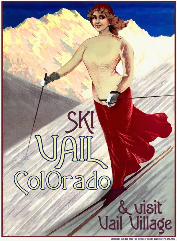 Skier in Red Skirt