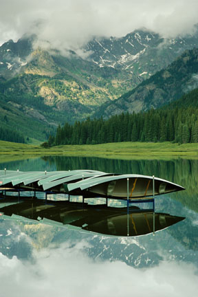 Vail - Canoes on Dock -Photograph