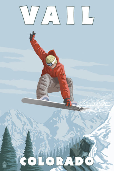 46512 - Vail CO - Snowboarder Jumping